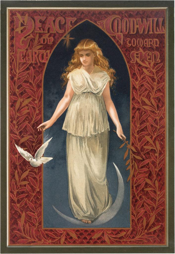 vintage angel dove peace moon illustration