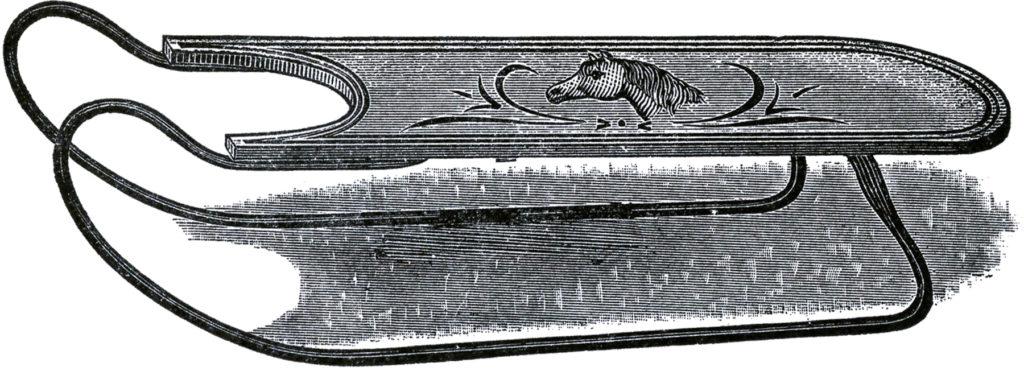 wooden sled vintage image