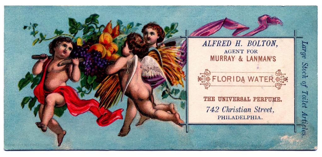 Florida water ad cherubs vintage typography illustration