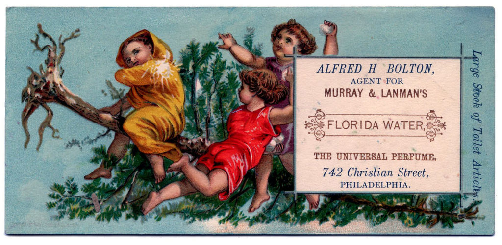 Christmas cherubs Florida water advertising typography image