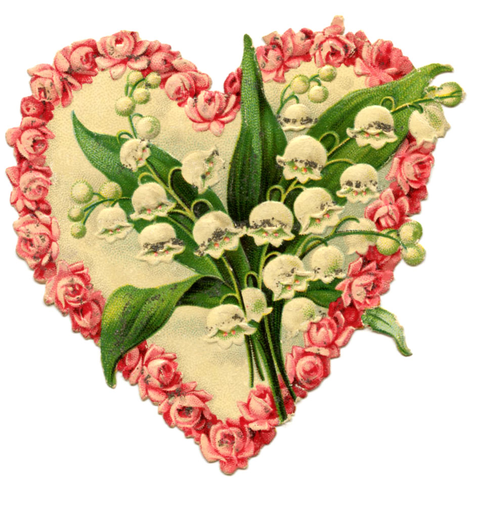 vintage floral heart lily of the valley roses clipart