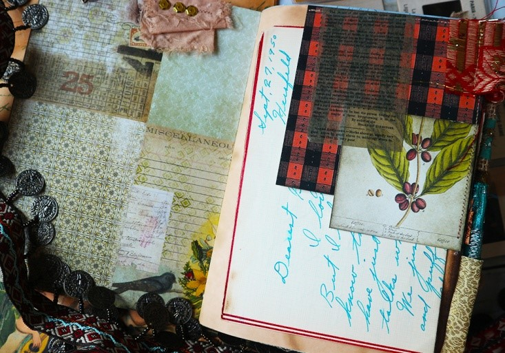 Luna Rozu plaid ephemera Junk Journal