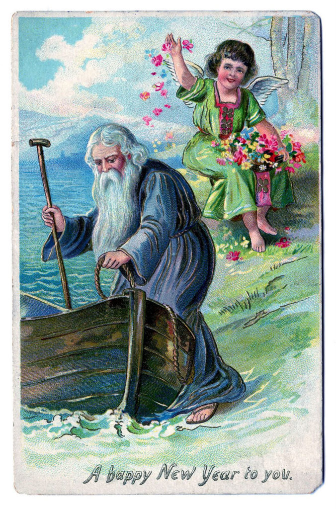 father time boat angel new year image