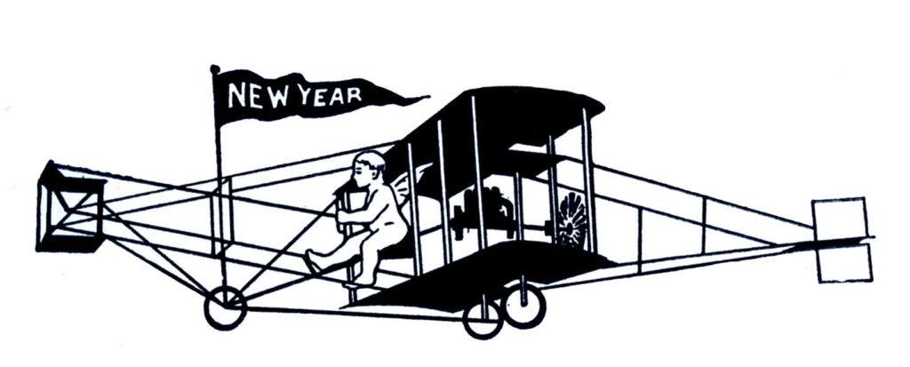 new year biplane plane black white clipart