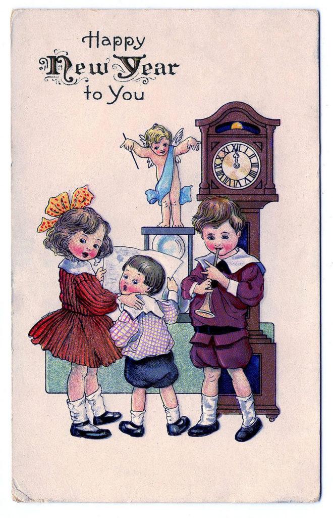 new year vintage clock angel cherub illustration