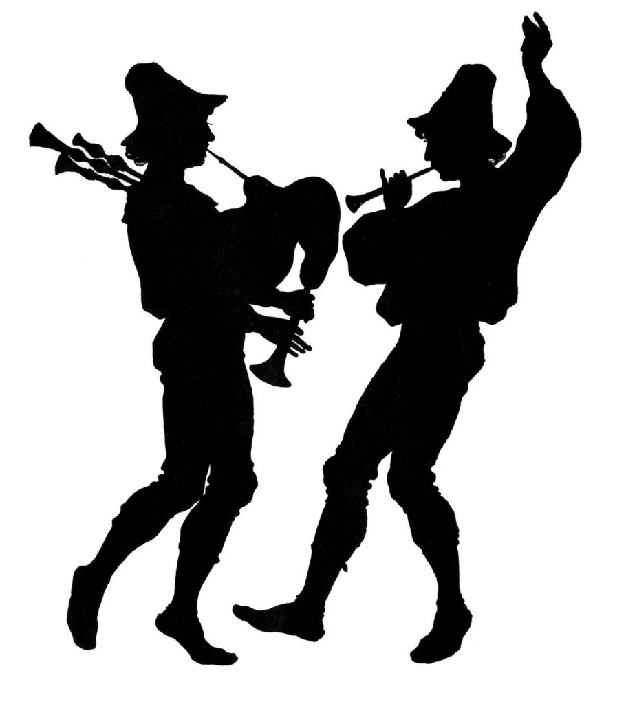 silhouette pipers piping horns christmas image