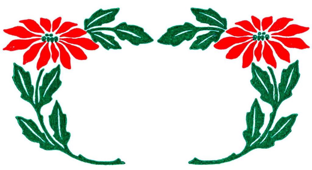 poinsettia wreath frame vintage image
