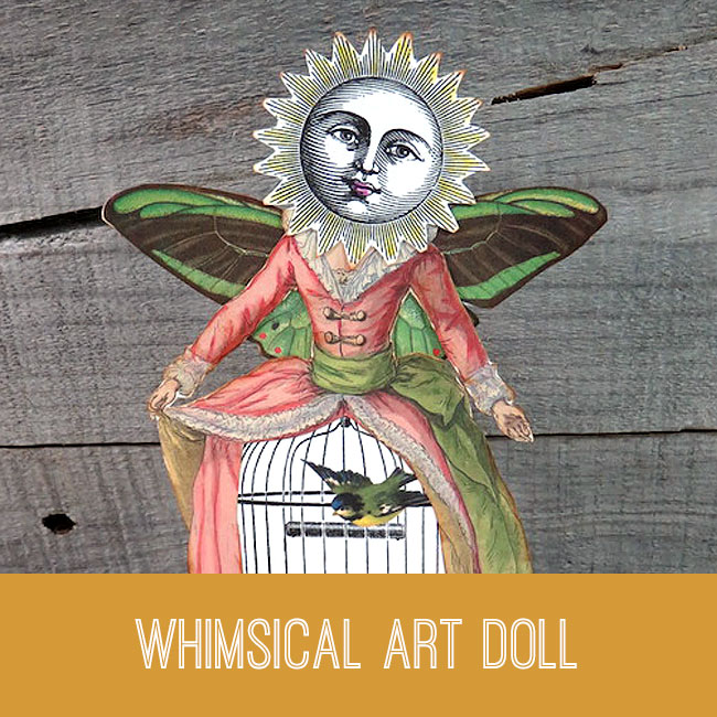 whimsical art doll paper collage tutorial
