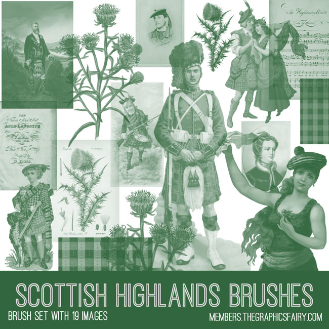 vintage scottish highlands ephemera brush set