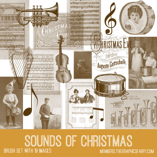 vintage sounds of Christmas ephemera brush set