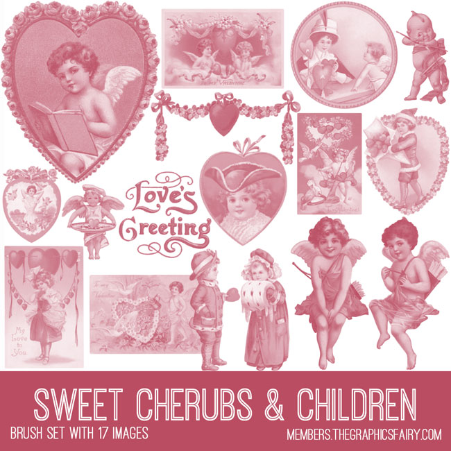 vintage sweet cherub & children ephemera brush set