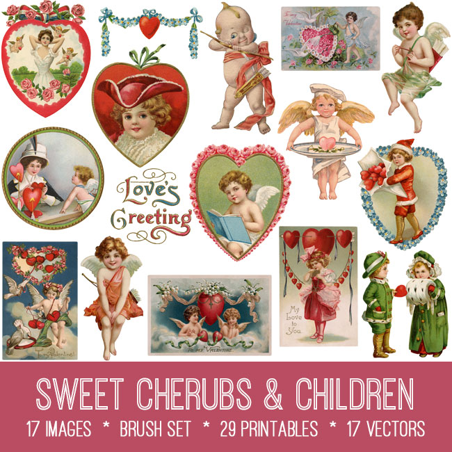 vintge sweet cherubs & children ephemera digital image bundle