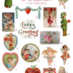 vintage sweet cherubs & children ephemera digital image bundle