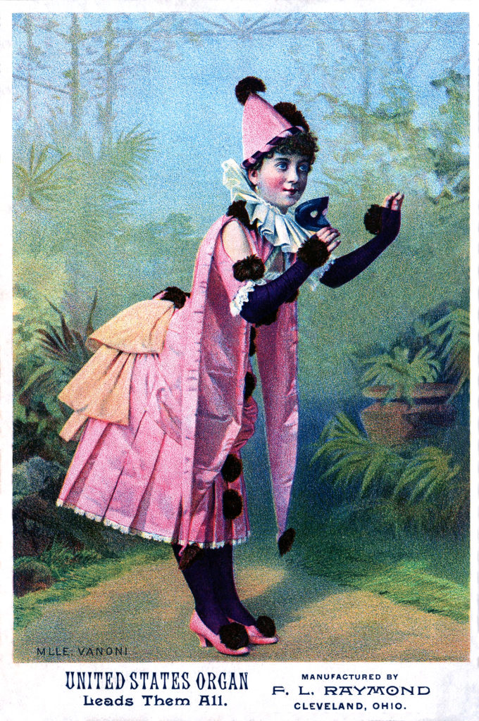 antique pink clown masquerade girl illustration