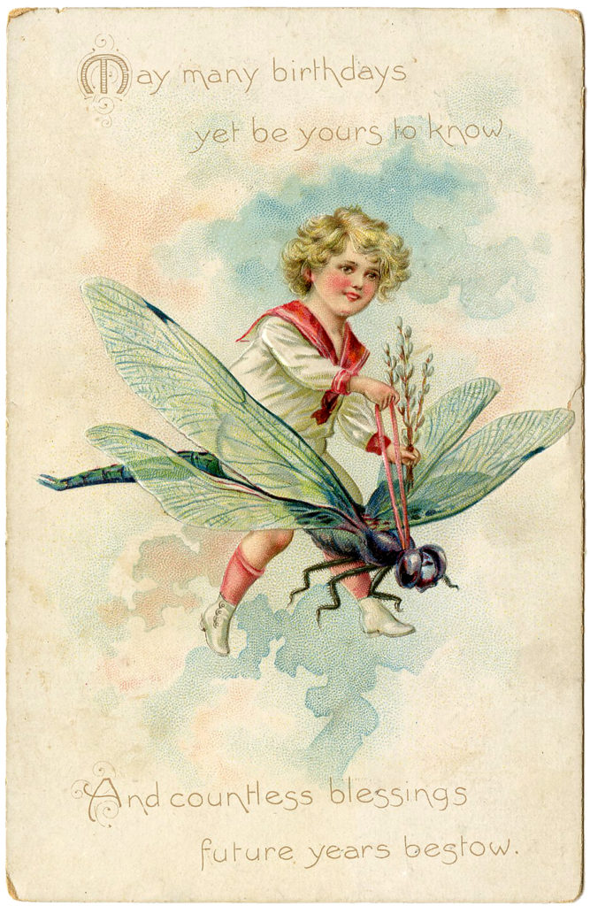 Birthday Boy Riding Dragonfly Vintage Clipart