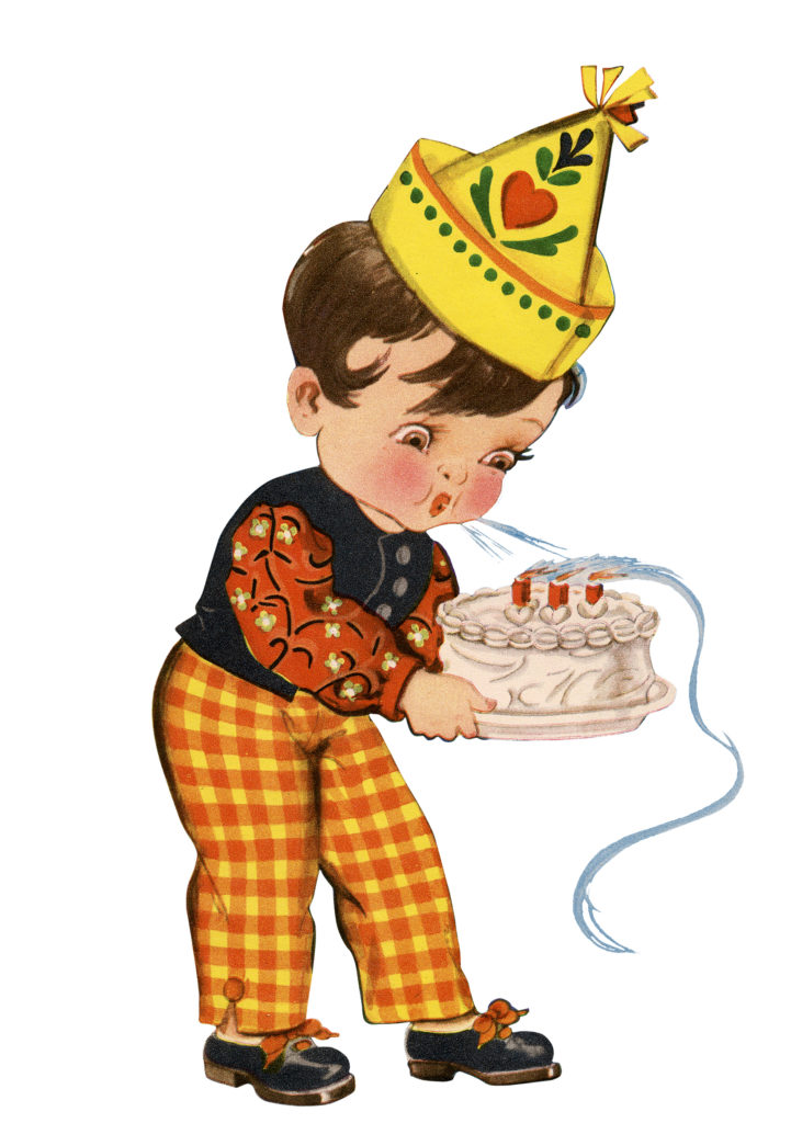 Retro Birthday Boy Blowing Candles Cake Party Hat Clipart
