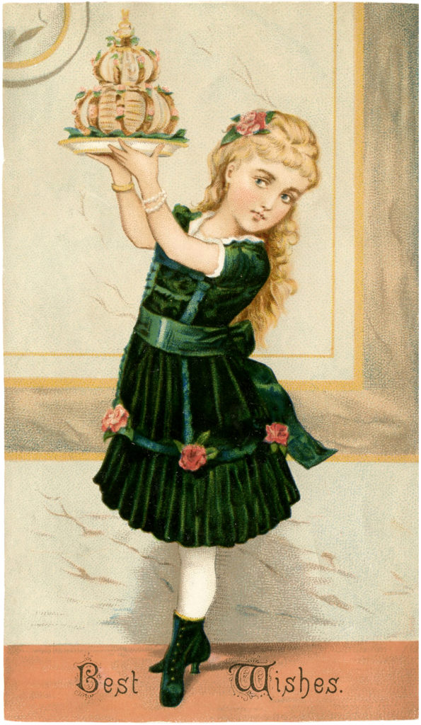 Victorian Girl Birthday Cake Illustration