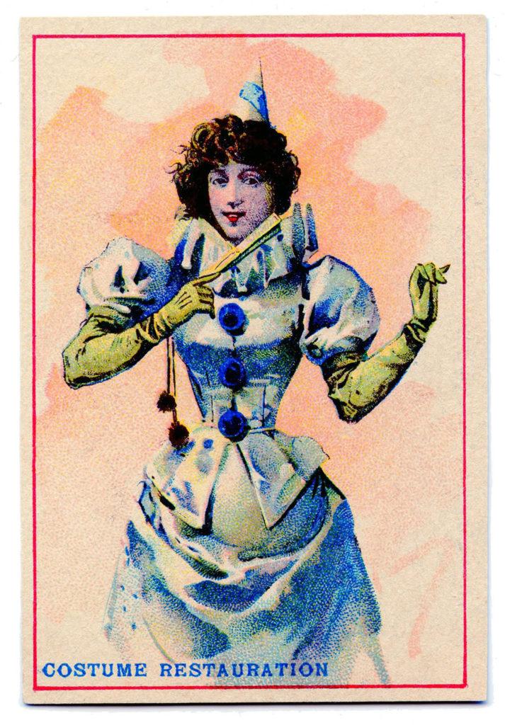 Blue Pierrot Clown Lady Costume Vintage Image