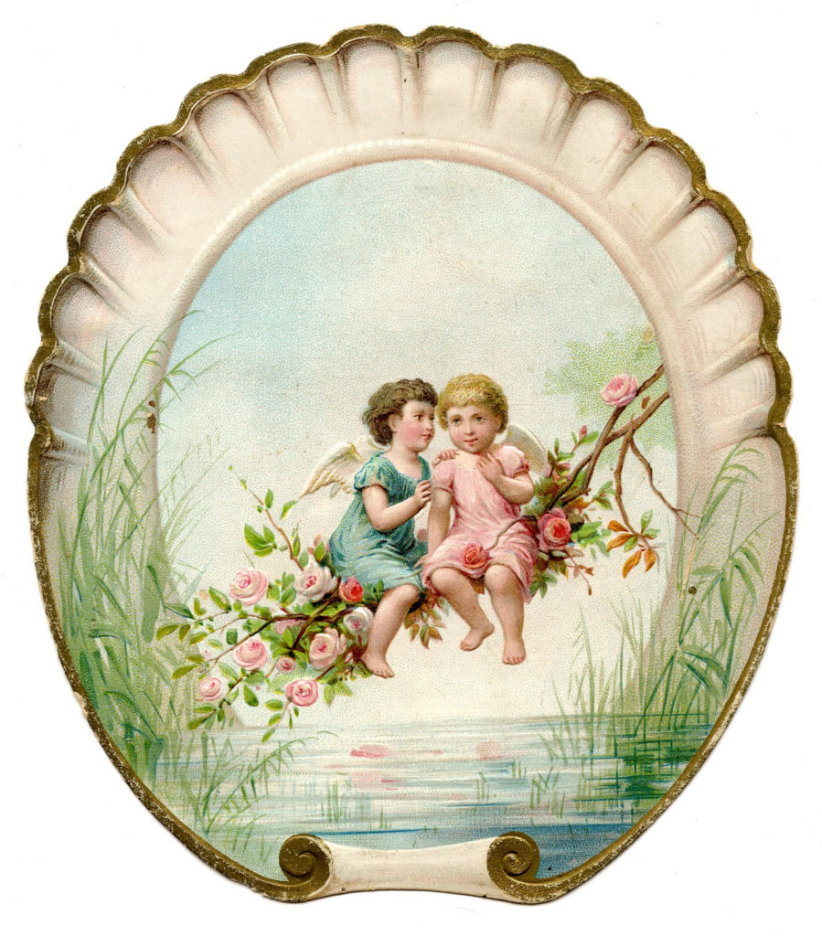 cherubs wings valentine vintage illustration