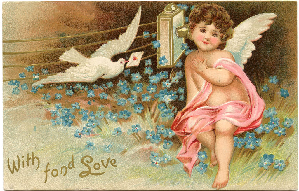 vintage cherub wings dove telephone clipart