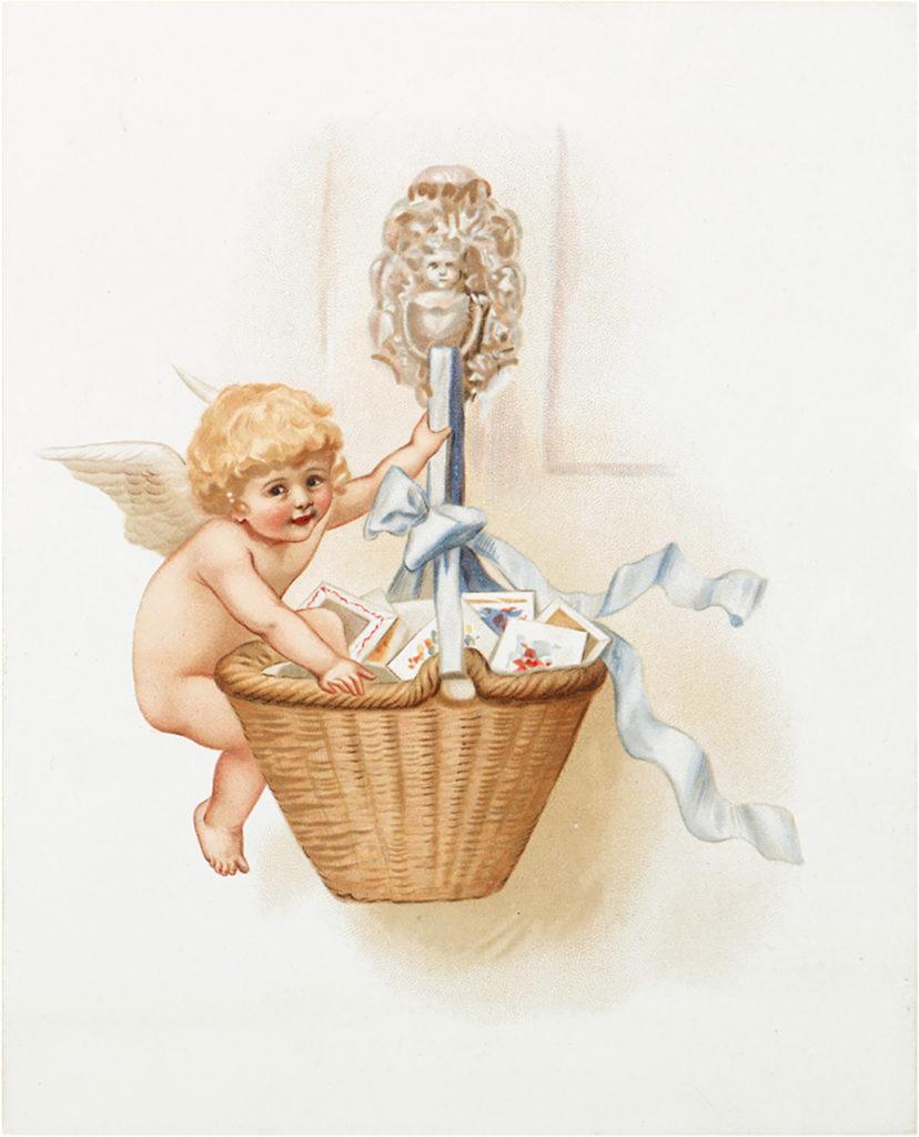 cherub valentine basket wings image