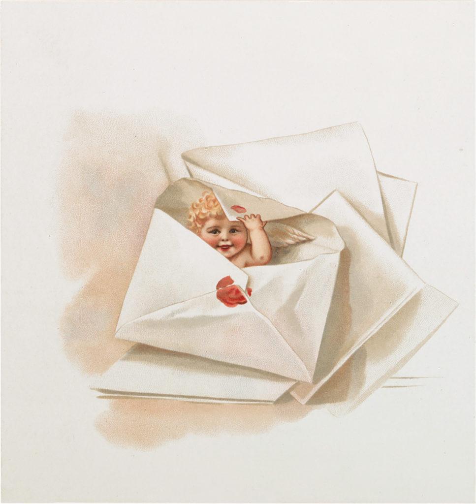 cherub letter valentine clipart