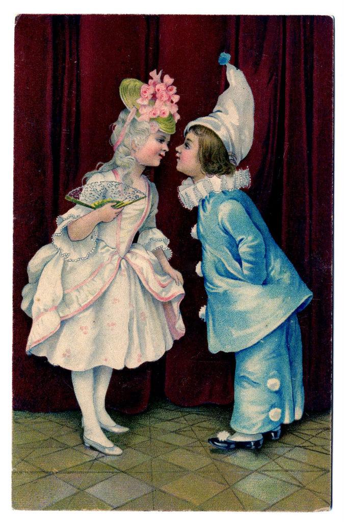Blue Clown Costume Vintage Image