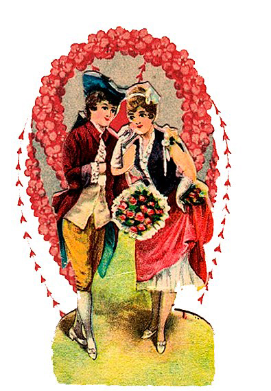 Colonial Couple Vintage Die Cut Valentines Illustration