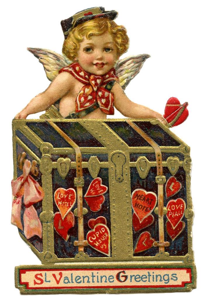 Cupid Postman Die Cut Valentines Trunk Image