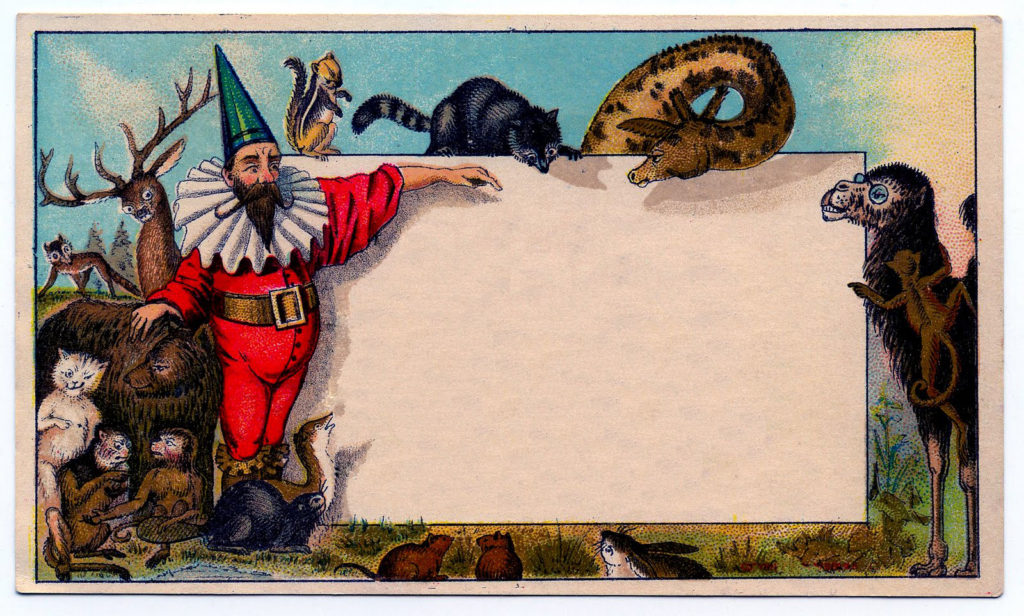 gnome vintage blank card label image