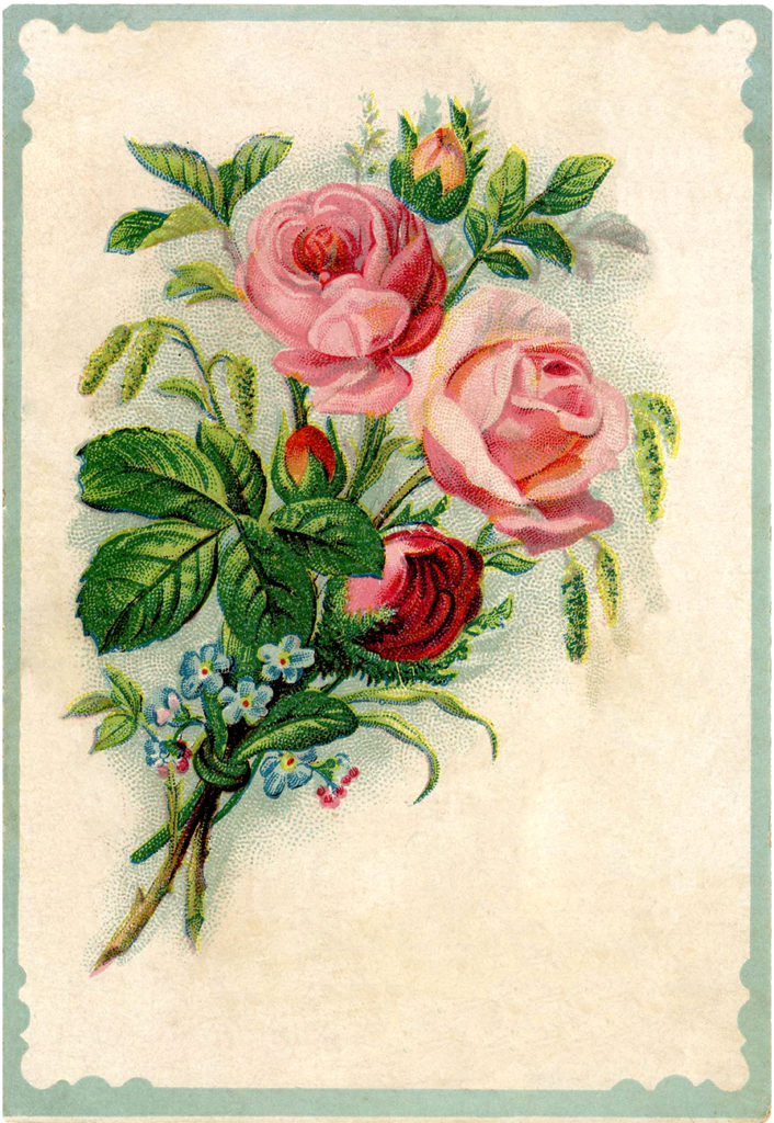 rose bouquet vintage image