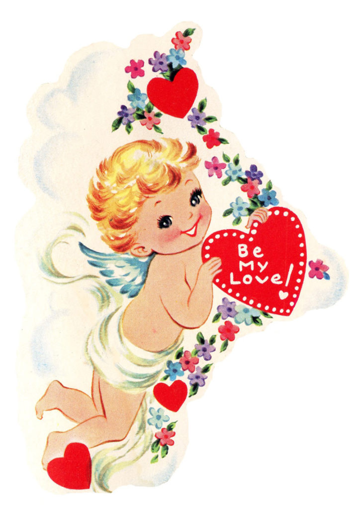Retro Valentine Angel hearts clipart