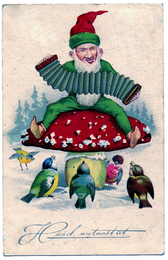 vintage gnome mushroom birds snow image