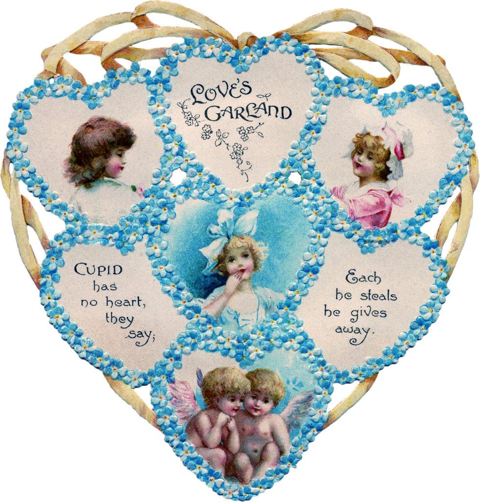 Victorian Heart Valentine Blue Image Die Cut