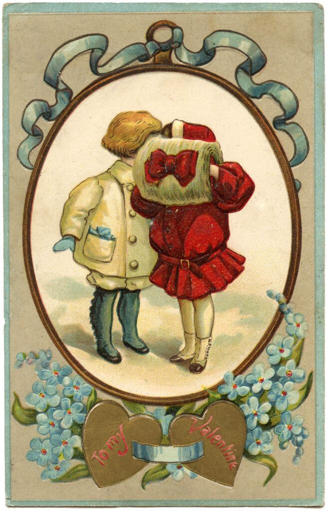 Kids Kiss Valentine Image