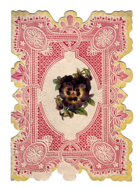 Vintage lacy Die Cut Valentines Pansy Flower clipart