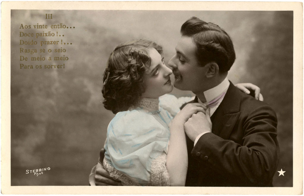 Old photo romance embrace clipart
