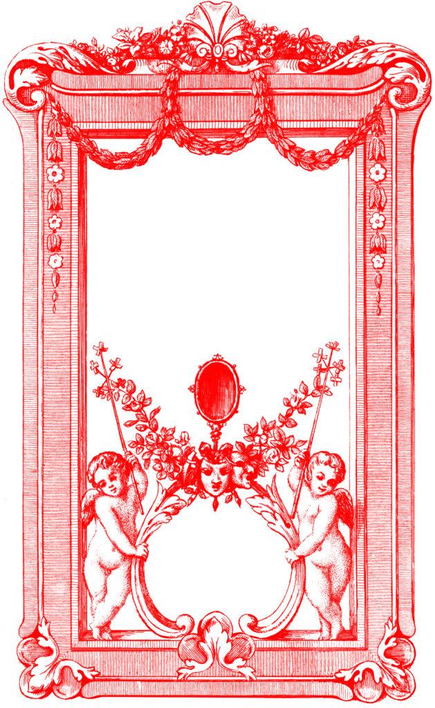 cherubs valentine frame label clipart