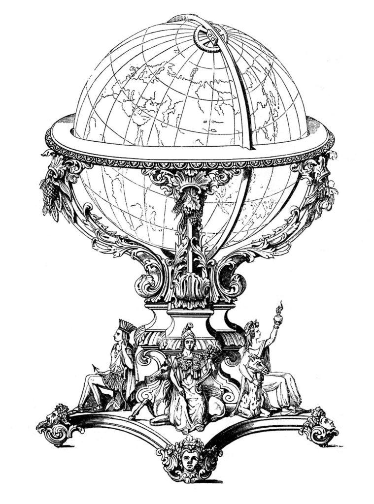 ornate antique globe image
