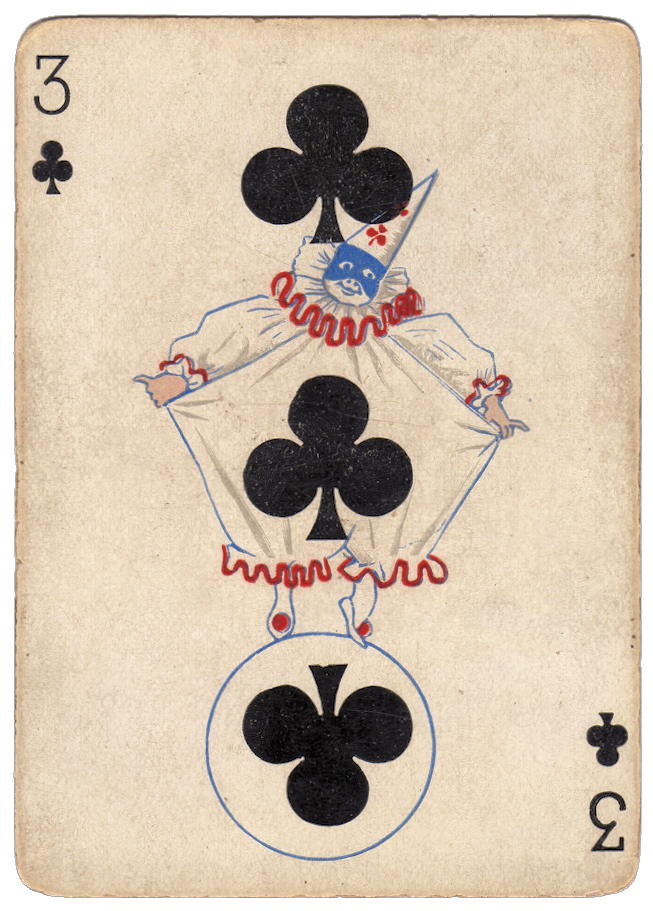 Pierrot Clown Playing Card Clubs Image