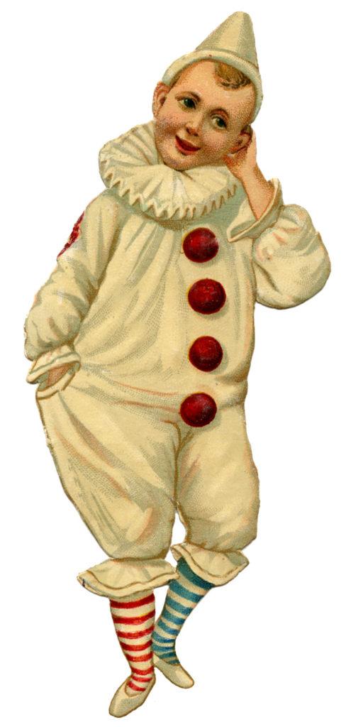 Pierrot clown boy clipart