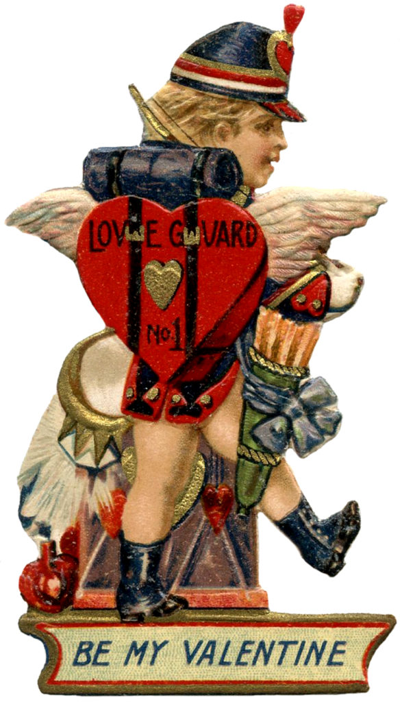 Cupid in Lederhosen Valentine Arrows Clipart Die Cut Valentines