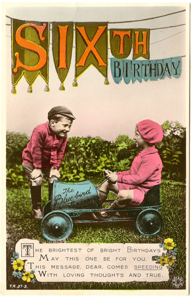 vintage sixth birthday photograph image