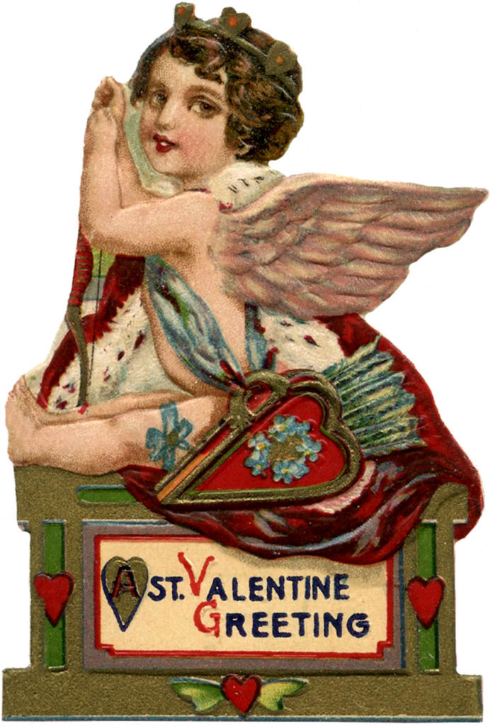 Die Cut Valentines Cupid Vintage Illustration