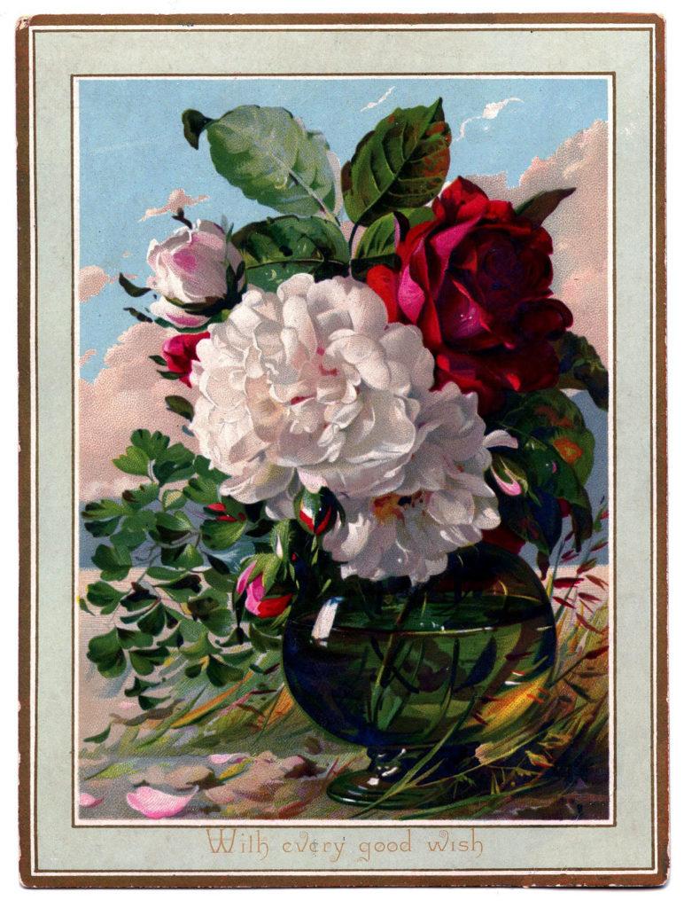 roses bouquet vase image