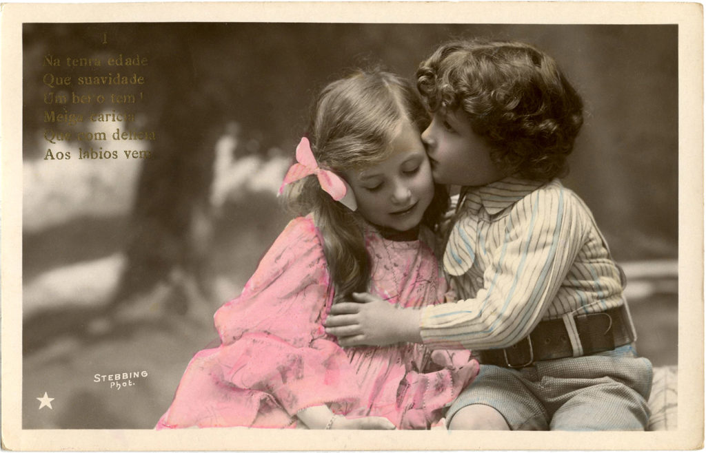 sweet children kiss vintage photo image
