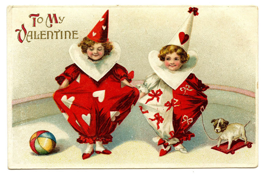 Valentine Clowns red white hearts costumes clipart