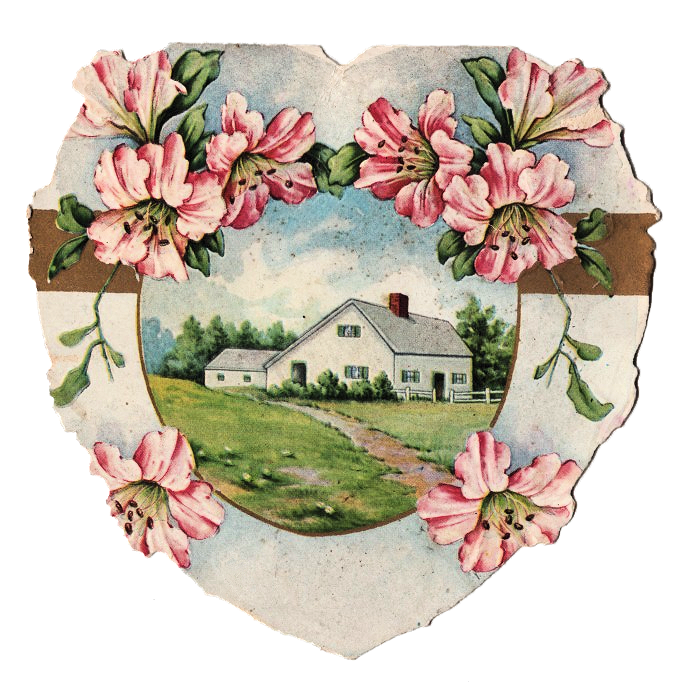 Die Cut Valentines House Home Heart Illustration