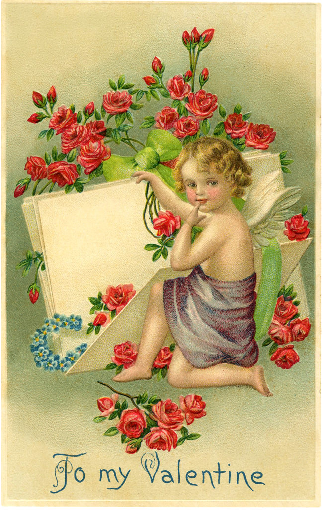 valentine cherub roses wings illustration