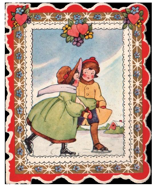 Valentine Skaters Vintage Clipart